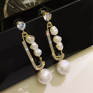 Big Pin Gold Tone Pearl Earrings